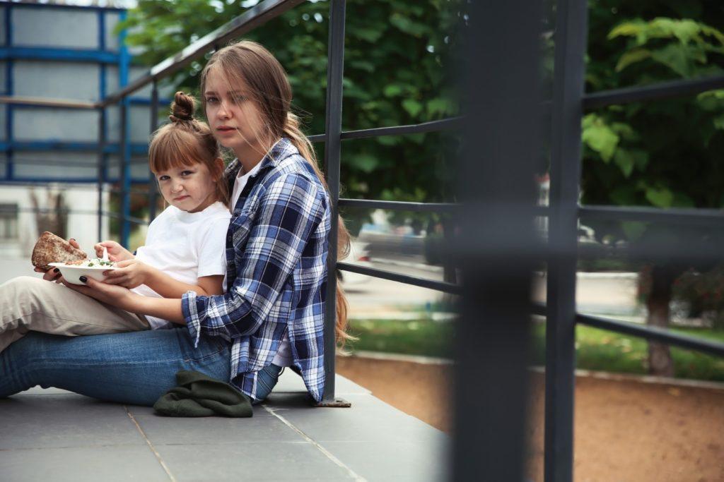 woman child outside
